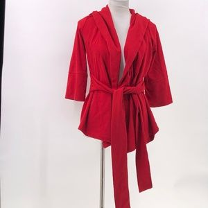 Xtaren hooded cardigan red belted sz S Small